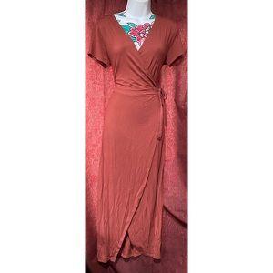 Francescas Wrap Around Terracotta Dress